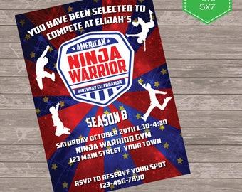 American Ninja Party Invitation, Ninja Warrior Birthday Party  American Ninja Invite Digital Birthday invitation 5 x 7 printable invite
