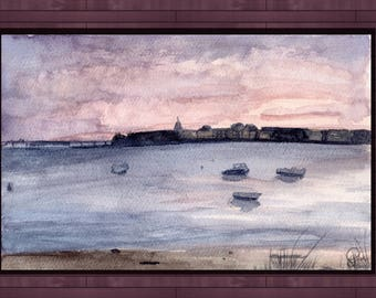 Watercolor A5 Landscape Painting - Sunrise in Brittany  - 16 x 24 cm / seascape, france, traditional