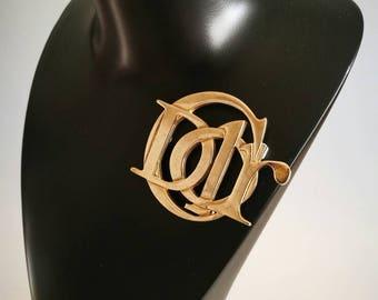 DIOR Christian Dior Monogram Gold Plated Brooch