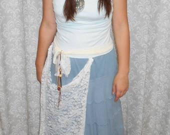 Blue Boho Dress, Tribal Dress, Viking Dress, Blue Hippie Dress, Ocean Dress, Festival Clothing, Gypsy Dress, Blue Tribal Dress