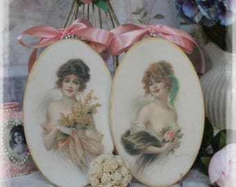 "A Set of 2 ""Victorian Women"" ~ Shabby Chic French Country Cottage style ~ Wall Decor Sign"