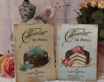 "A set of 2 ""Chocolat de Paris"" Shabby Chic Country Cottage style Wall Decor Sign"