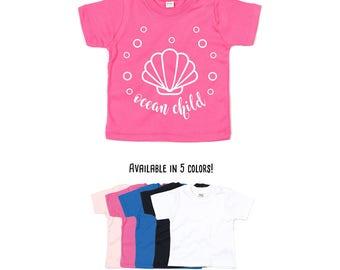 Ocean child shirt, summer shirt, sea shirt, beach shirt, seashell shirt, water shirt, baby shirt, toddler shirt, summer time tee, ocean tee