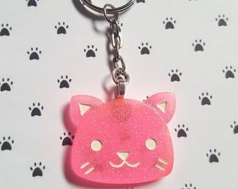 Cat keyring, Kitty keyring, Cat bag charm, Glitter cat keyring, Glitter keyring, Cat, Kitty, Cat lover, Cat lover gift, Crazy cat lover gift