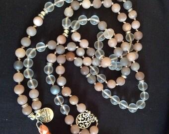 108 8mm mala, mala, sunstone mala, yoga beads, yoga necklace, boho necklace, long tassel necklace, meditation beads,  8mm mala beads
