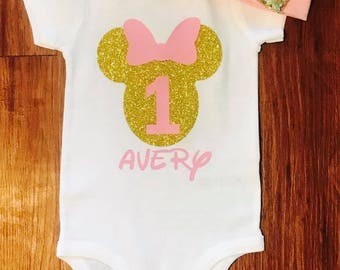 Pink and Gold Minnie Mouse First Birthday Bodysuit with Headband. Minnie Mouse 1st Birthday Outfit. Disney Birthday. Minnie Mouse Baby