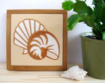Ceramic Tile Trivet, Seashell Wall Decor