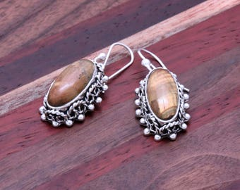 Long Vintage Inspired Tigers Eye Earrings with Patina Finish - 925