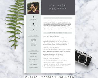 CV Template Olivier | Resume Format | Cover Letter | in English and French | Microsoft Word | Instant Download