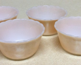 Anchor Hocking Fire King Peach Carnival Lusteware Custard Cups Set Of 4 - 6 Oz