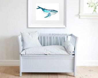 Blue whale Nursery wall art Watercolor painting Ocean print sea life nursery print children room illustration Blue baby room illustration
