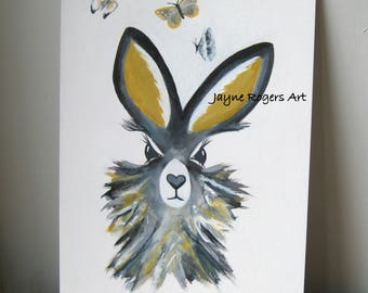 ORIGINAL Hare Painting,  Hare Art Work, Animal Art, Grey Wall Art, Nursery Art, Animal Painting, Rabbit Painting, Nursery Decor, Yellow