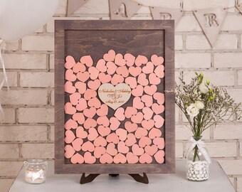 Custom Wedding Guest Book Alternative Wood Wedding Drop Box Heart Wedding Guestbook Alternative Drop Top Rustic Wedding guest book PEACH