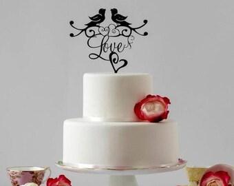 ON SALE Love Birds Wedding Cake Topper, Romantic Cake Topper, Wedding Cake Ideas for a Boho Wedding, Wedding Cake topper also  Gold Cake Top