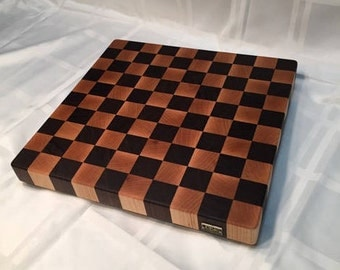 "Walnut and Maple Square ""Checkerboard"" End Grain Cutting Board"
