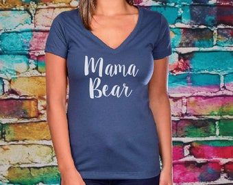 Mama Bear V-neck- Christmas Gifts, Mom tee, gift for mom, Women's shirt, Fitted tee, Mom shirt, gift for mom, Mama bear, Fitted vneck.