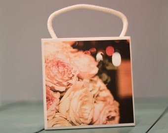 Ceramic Tile Wall Art, Pink Roses, Home Decor, 4x4, Decorative, display, Decor, home and living, gift,under 20, Art and Collectibles,Artwork