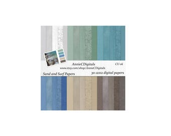 Digital Scrapbooking Paper: Sand and Surf Paper Pack