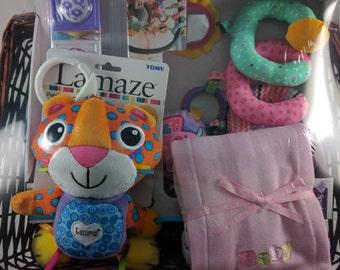 Baby Gift Basket - (Pink Burp Cloths, Spiral Activity Toy, Blocks, Lamaze Clip)