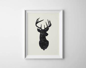Deer Head Print   Constellation Print   Deer Head Poster   Wall Art   Modern Deer Head