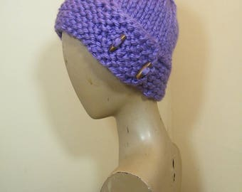 Chunky knit/crochet ladies hat/ two side toggle buttons/Extra Warm  -NEW ITEM!