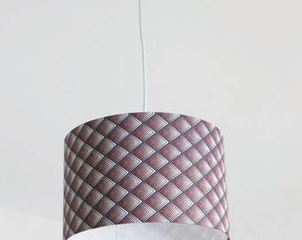 Chandelier hanging ceiling light brown geometric diamond ombre - cylindrical Lampshade - round 28cm cylinder + wire