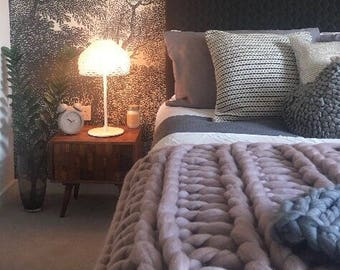 The Dunham Throw is a Chunky Merino Wool Blanket seen here in Mink Blush - Extreme Knit Blanket - Giant Knit Blanket - Chunky Bed Throw
