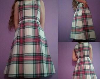 1990s Metallic Plaid Dress