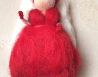 Fairy Angels Merino carded tones red and white