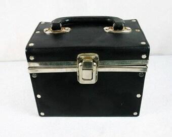 Beautiful Vintage Black Beauty Case Vinyl Black Silver Beauty Case Vintage Make Up Case