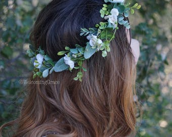 Flower crown wedding, white floral crown, ivory flower headpiece, greenery crown, bridal flower crown, floral headband wedding