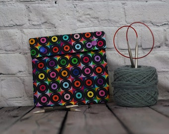 Records Circular Knitting Needle Case or Notions case for Knitting Notions, Crochet notions case, Accessories case, Sewing notions