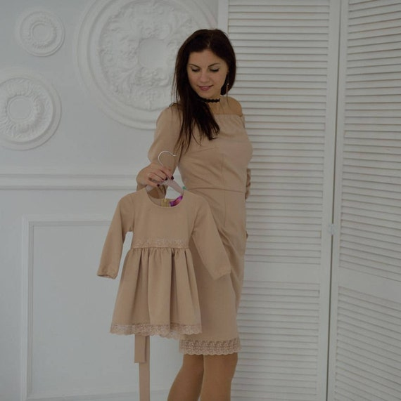 Color matching clothes beige dresses