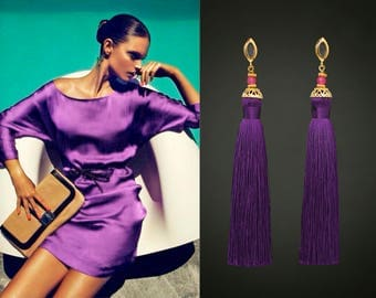Tassel Earrings Purple Earrings Tassel Jewelry Long Earrings Amethyst Earrings Dangle Earrings Fringe Earrings Fashion Earrings  Tassels