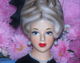 "Wow Blue Eyes Rare Relpo Japan 6"" Lady Head vase k1883  Headvase Mod 60's Teen Classic Outfit Hairbow"