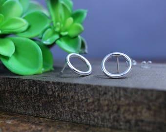 Sterling Silver Open Circle Earrings, Stud Earrings, Geometric Earrings