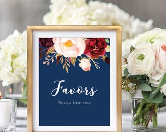 Favors Sign, Wedding Favors Sign, Favors Printable Sign, Wedding Favors Decor, Reception Sign, Wedding Printable Sign, Burgundy #A004