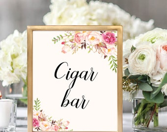 Cigar Bar Sign, Printable Cigar Bar Sign, Wedding Bar Sign, Printable Wedding Sign, Floral Wedding, Blush, Wedding Signage, #B512
