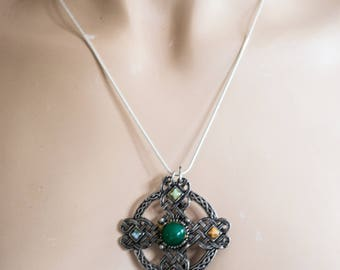 Vintage Silver Celtic Cross Upcycled Necklace