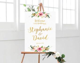 Bohemian Wedding Sign, Wedding Welcome Sign, Printable Wedding Sign, Welcome Wedding Sign, Floral Wedding Sign, wedding sign - US_WS0701