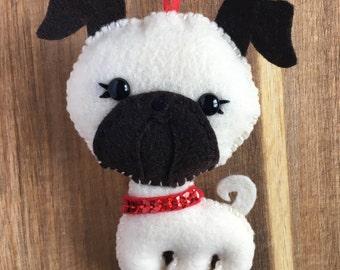 Felt Pug Ornament