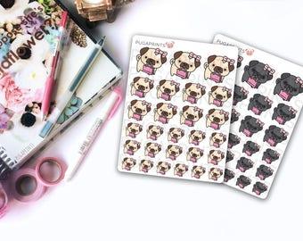 Kawaii Pug: Shopping Trip || 20+ Deco Stickers || ECLP, HappyPlanner, BuJo