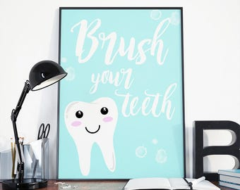Brush your teeth, modern nursery, nursery prints, brush your teeth art, brush teeth sign, bathroom print, cute nursery print, bathroom art