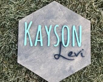 Wooden Hexagon Name Sign- Custom Wooden Name Sign- 3D Nursery Decor- Custom Kids' Room Decor- Raised Wooden Letters- Custom Baby Shower Gift