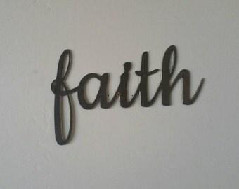 Faith Metal Sign, Faith Sign, Faith Metal Word, Faith Metal Art