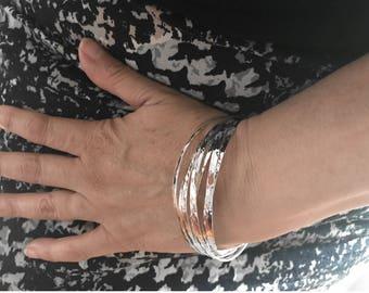 Silver weekly solid woman 42 grams 925 Silver - layering bracelet