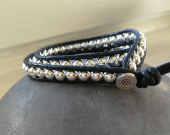 Leather bracelet with sterling silver balls/double row/customizable/gift for you or him/single piece/handmade/Valentine's Day/Black/Silver
