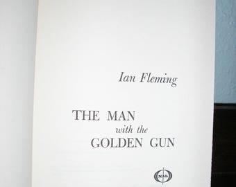vintage James Bond, 1965, The Man with the Golden Gun, Ian Fleming, hard cover, excellent condition, James Bond book