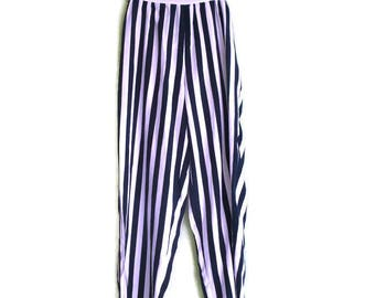 Vintage Striped Pants, Striped trousers, Loose pants, Nautical pants, White and Navy pants, Classic pants, High waisted pants, Striped pants