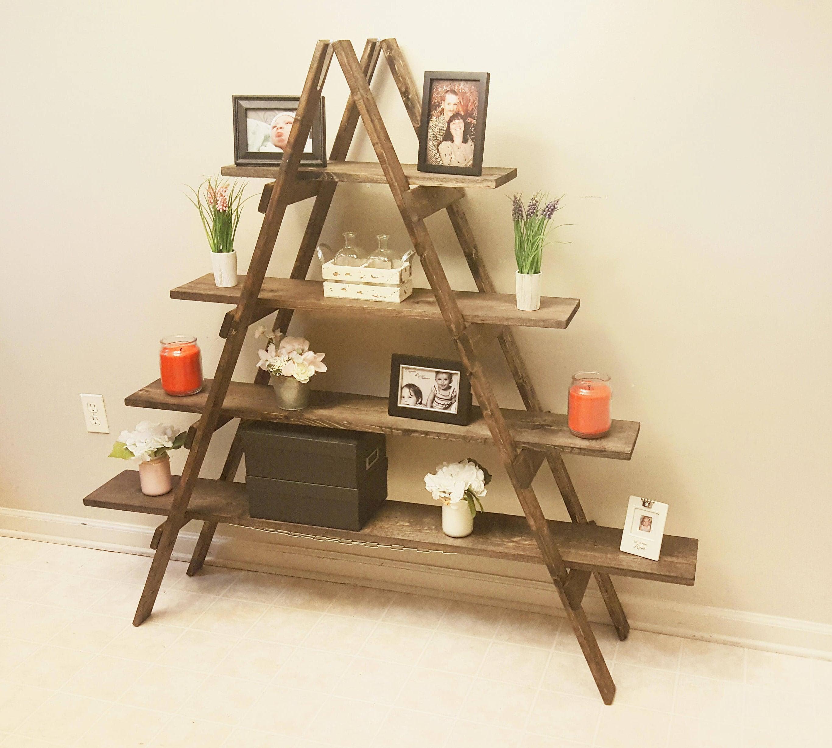 cascade ladder shelf rustic bookshelf rustic bookcase. Black Bedroom Furniture Sets. Home Design Ideas
